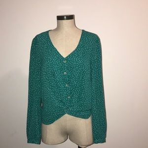Green polka dot blouse